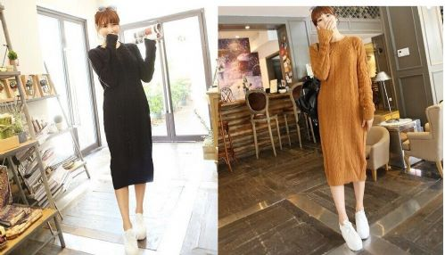 New Winter Vintage Women Crewneck Jersey Warm Knit Sweater Long Dress